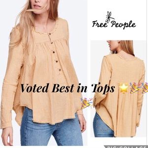 🌟FREE PEOPLE Top Cotton Raw Seam Long Sleeve
